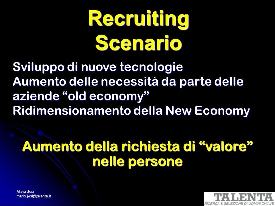 Mario Jesi mario.jesi@talenta.it Recruiting Scenario Sviluppo di nuove tecnologie Aumento delle necessità da parte delle aziende old economy Ridimensi