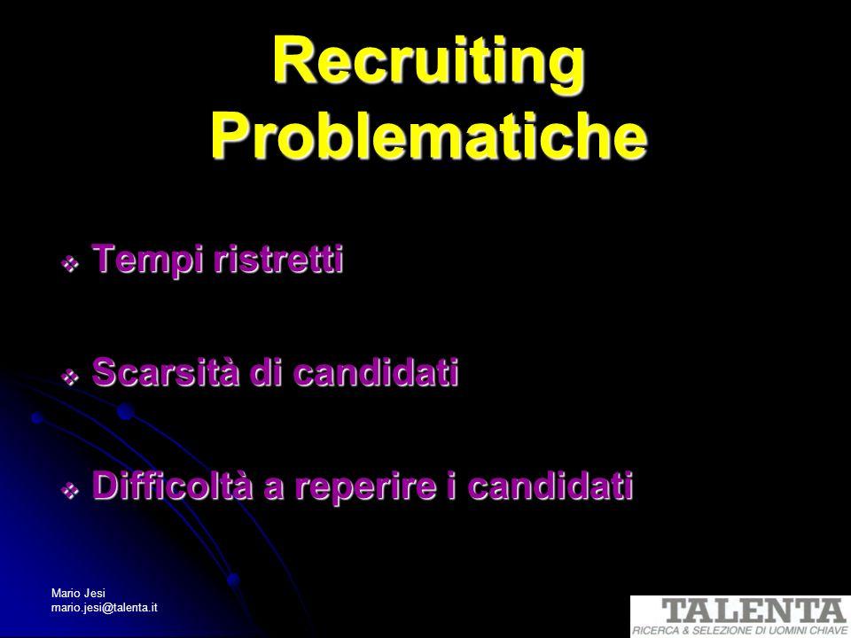 Mario Jesi mario.jesi@talenta.it Recruiting Problematiche Tempi ristretti Tempi ristretti Scarsità di candidati Scarsità di candidati Difficoltà a rep