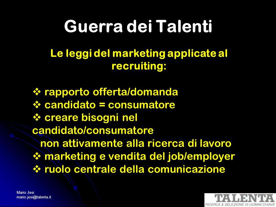 Mario Jesi mario.jesi@talenta.it Guerra dei Talenti Le leggi del marketing applicate al recruiting: rapporto offerta/domanda candidato = consumatore c