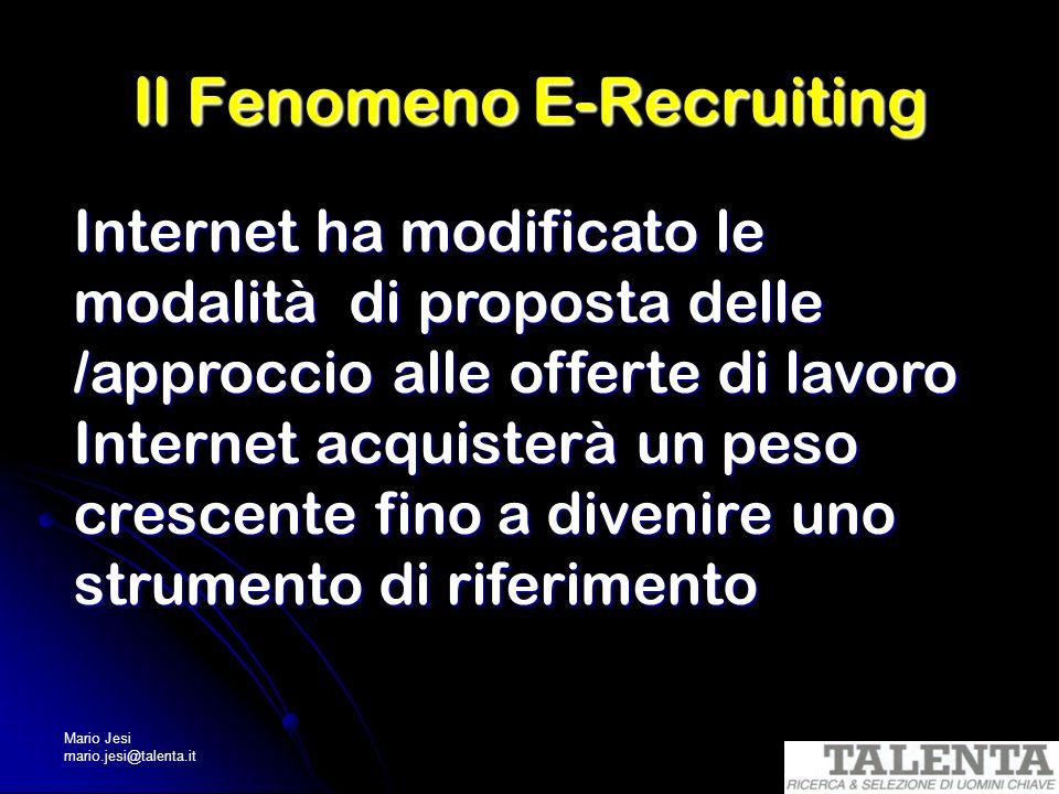 Mario Jesi mario.jesi@talenta.it Il Fenomeno E-Recruiting Internet ha modificato le modalità di proposta delle /approccio alle offerte di lavoro Inter