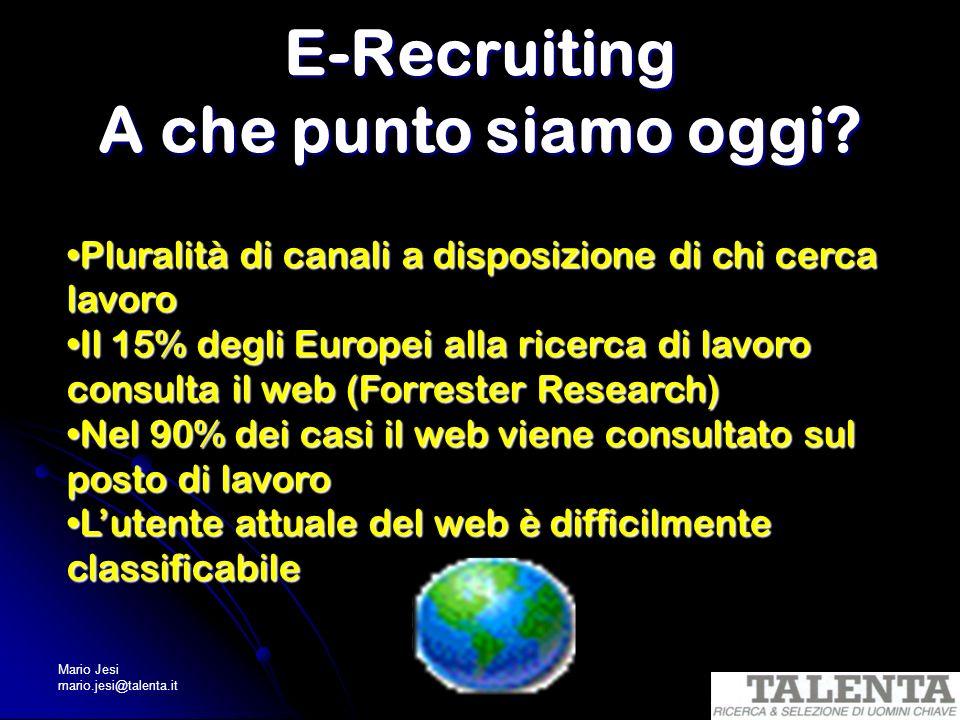 Mario Jesi mario.jesi@talenta.it E-Recruiting A che punto siamo oggi? Pluralità di canali a disposizione di chi cerca lavoroPluralità di canali a disp