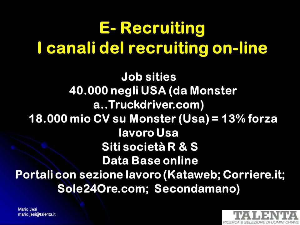Mario Jesi mario.jesi@talenta.it E- Recruiting I canali del recruiting on-line Job sities 40.000 negli USA (da Monster a..Truckdriver.com) 18.000 mio