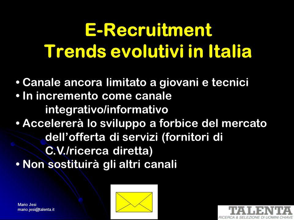 Mario Jesi mario.jesi@talenta.it E-Recruitment Trends evolutivi in Italia Canale ancora limitato a giovani e tecnici In incremento come canale integra