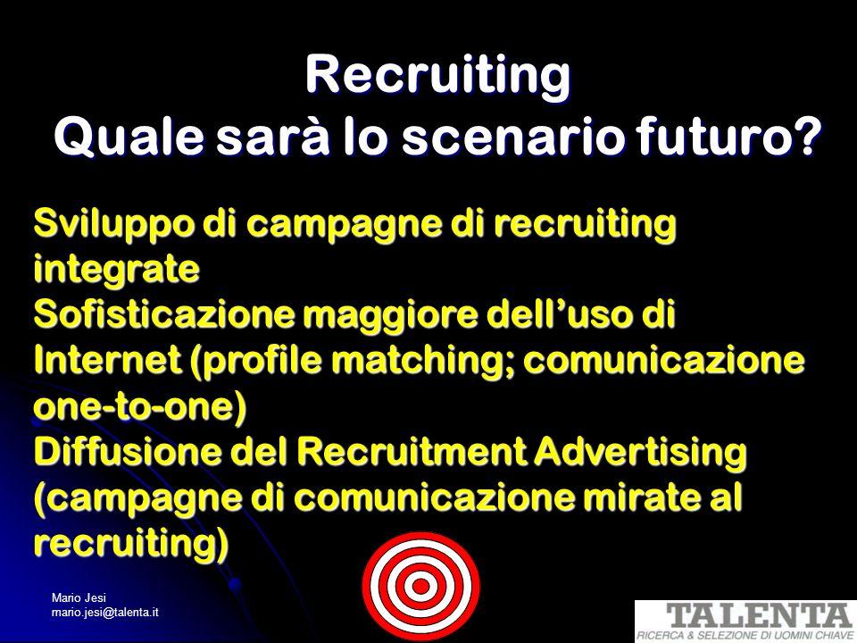 Mario Jesi mario.jesi@talenta.it Recruiting Quale sarà lo scenario futuro? Sviluppo di campagne di recruiting integrate Sofisticazione maggiore dellus