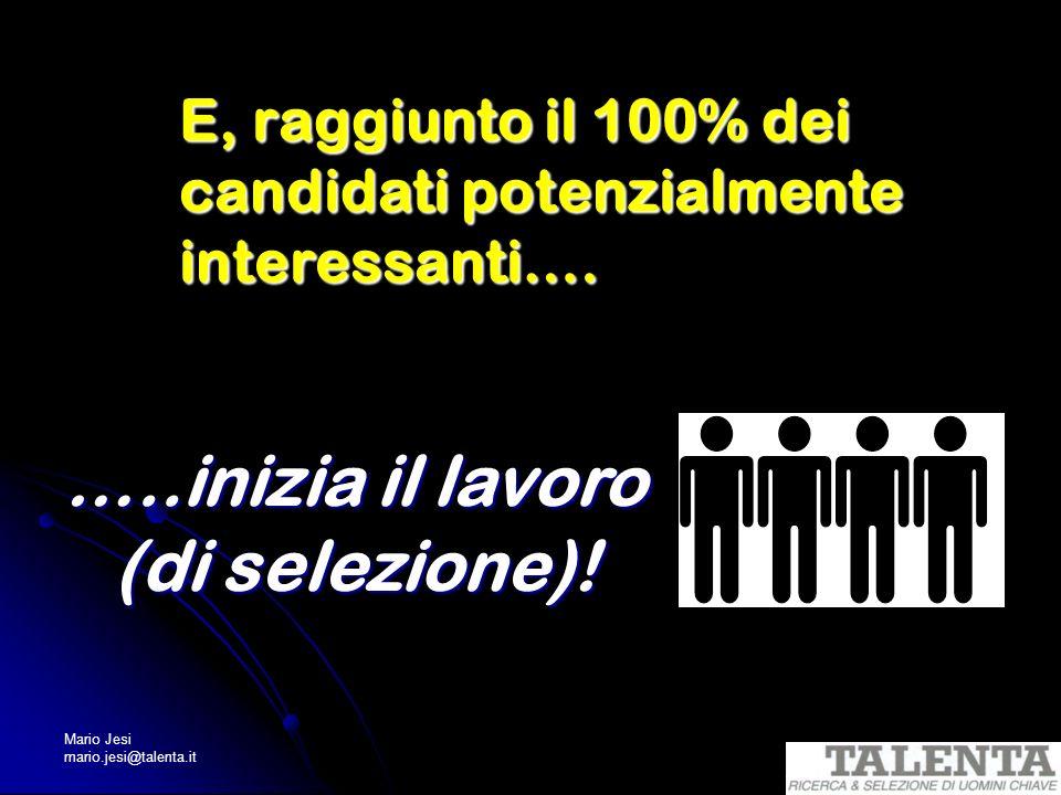 Mario Jesi mario.jesi@talenta.it E, raggiunto il 100% dei candidati potenzialmente interessanti…. …..inizia il lavoro (di selezione)!