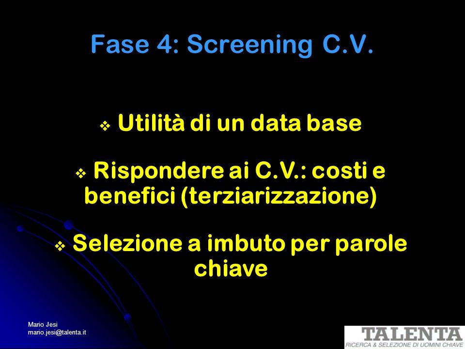Mario Jesi mario.jesi@talenta.it Fase 4: Screening C.V. Utilità di un data base Rispondere ai C.V.: costi e benefici (terziarizzazione) Selezione a im