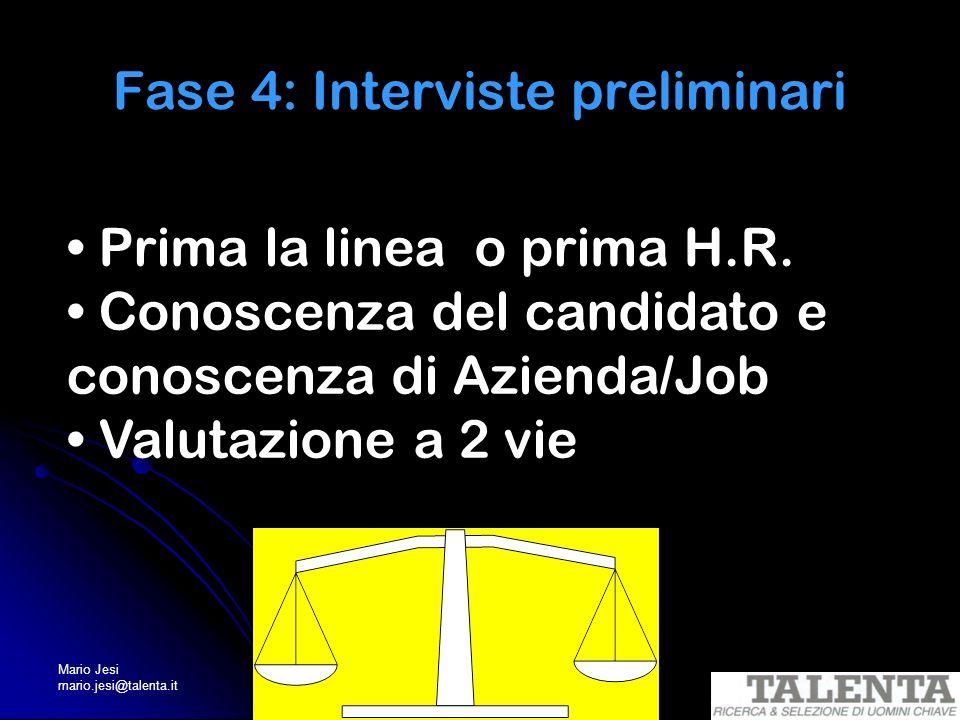 Mario Jesi mario.jesi@talenta.it Fase 4: Interviste preliminari Prima la linea o prima H.R. Conoscenza del candidato e conoscenza di Azienda/Job Valut