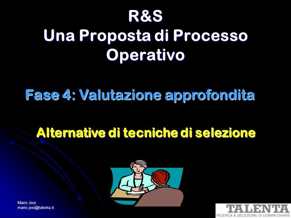 Mario Jesi mario.jesi@talenta.it R&S Una Proposta di Processo Operativo Fase 4: Valutazione approfondita Alternative di tecniche di selezione