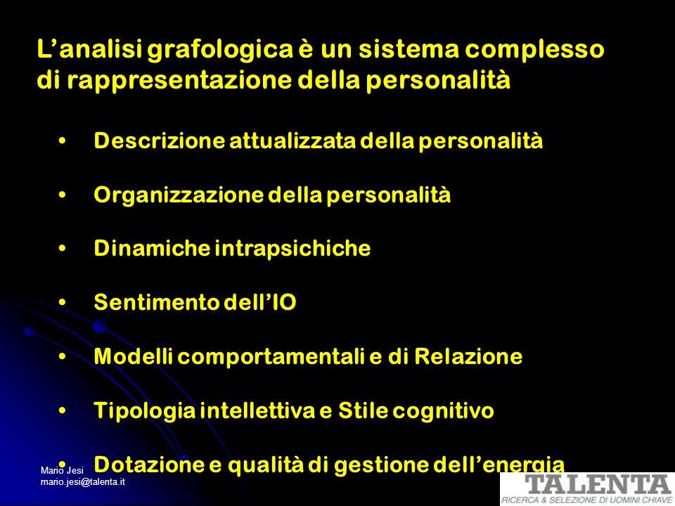 Mario Jesi mario.jesi@talenta.it Lanalisi grafologica è un sistema complesso di rappresentazione della personalità Descrizione attualizzata della pers