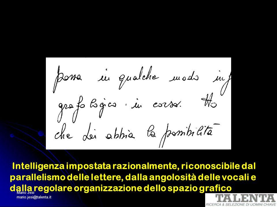 Mario Jesi mario.jesi@talenta.it Intelligenza impostata razionalmente, riconoscibile dal parallelismo delle lettere, dalla angolosità delle vocali e d