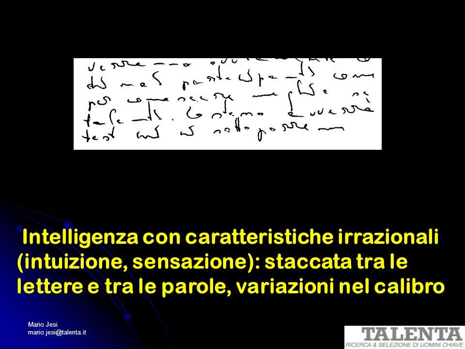 Mario Jesi mario.jesi@talenta.it Intelligenza con caratteristiche irrazionali (intuizione, sensazione): staccata tra le lettere e tra le parole, varia