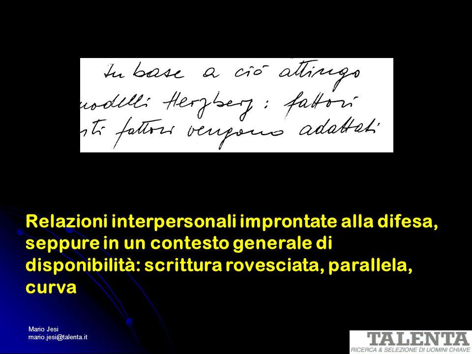 Mario Jesi mario.jesi@talenta.it Relazioni interpersonali improntate alla difesa, seppure in un contesto generale di disponibilità: scrittura rovescia