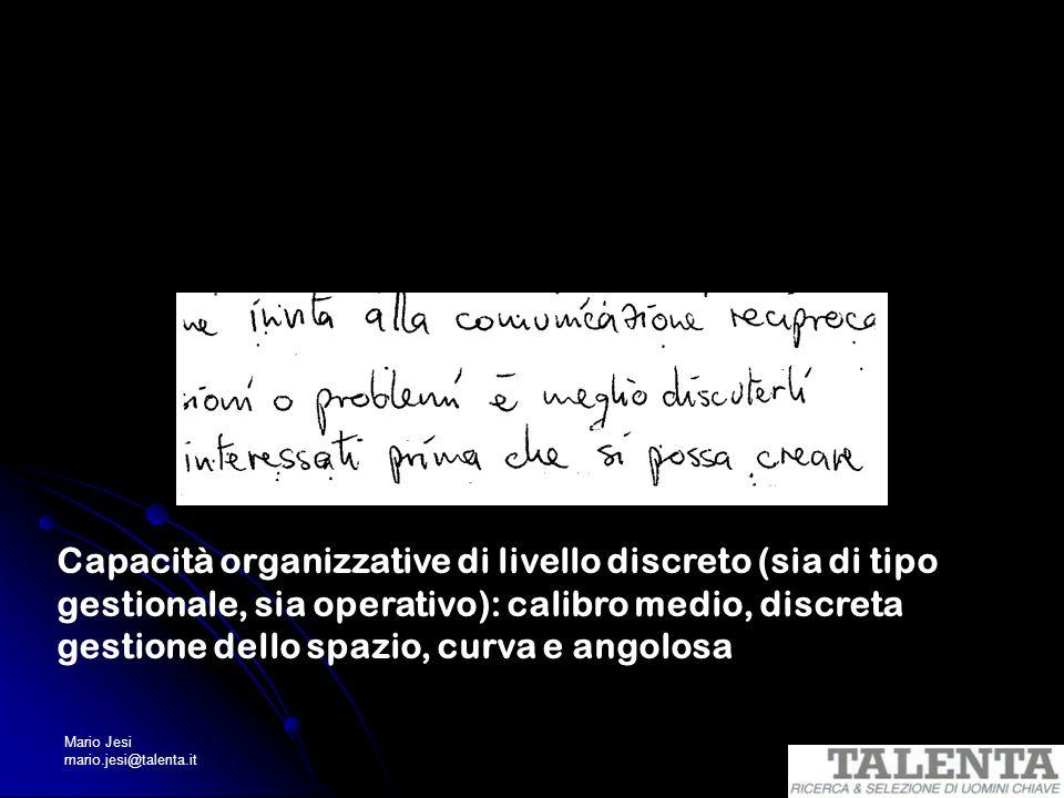 Mario Jesi mario.jesi@talenta.it Capacità organizzative di livello discreto (sia di tipo gestionale, sia operativo): calibro medio, discreta gestione