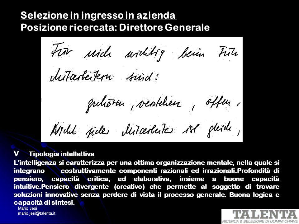 Mario Jesi mario.jesi@talenta.it v Tipologia intellettiva L'intelligenza si caratterizza per una ottima organizzazione mentale, nella quale si integra