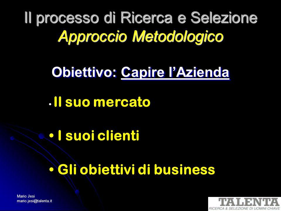 Mario Jesi mario.jesi@talenta.it Il processo di Ricerca e Selezione Approccio Metodologico Obiettivo: Capire lAzienda Il suo mercato I suoi clienti Gl