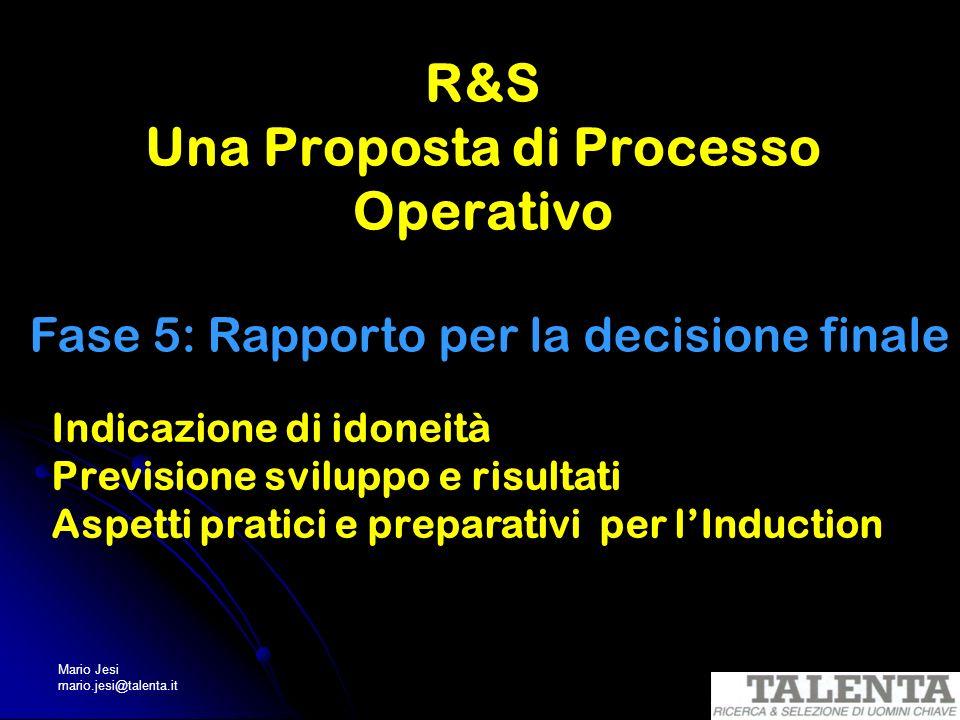 Mario Jesi mario.jesi@talenta.it R&S Una Proposta di Processo Operativo Fase 5: Rapporto per la decisione finale Indicazione di idoneità Previsione sv