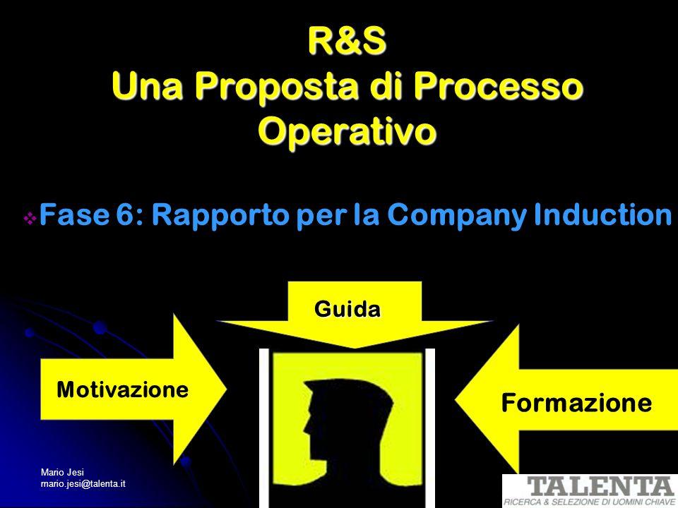 Mario Jesi mario.jesi@talenta.it R&S Una Proposta di Processo Operativo Fase 6: Rapporto per la Company Induction Guida Motivazione Formazione