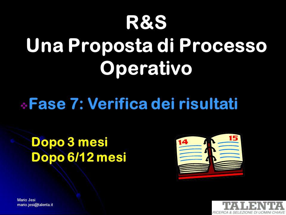 Mario Jesi mario.jesi@talenta.it R&S Una Proposta di Processo Operativo Fase 7: Verifica dei risultati Dopo 3 mesi Dopo 6/12 mesi