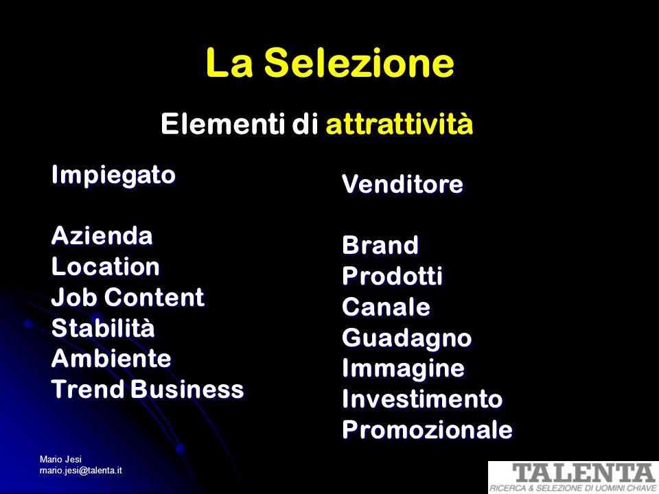 Mario Jesi mario.jesi@talenta.it La Selezione Elementi di attrattività ImpiegatoAziendaLocation Job Content StabilitàAmbiente Trend Business Venditore