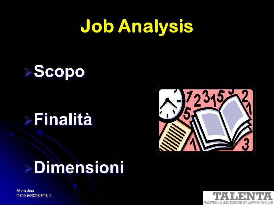 Mario Jesi mario.jesi@talenta.it Job Analysis Scopo Scopo Finalità Finalità Dimensioni Dimensioni