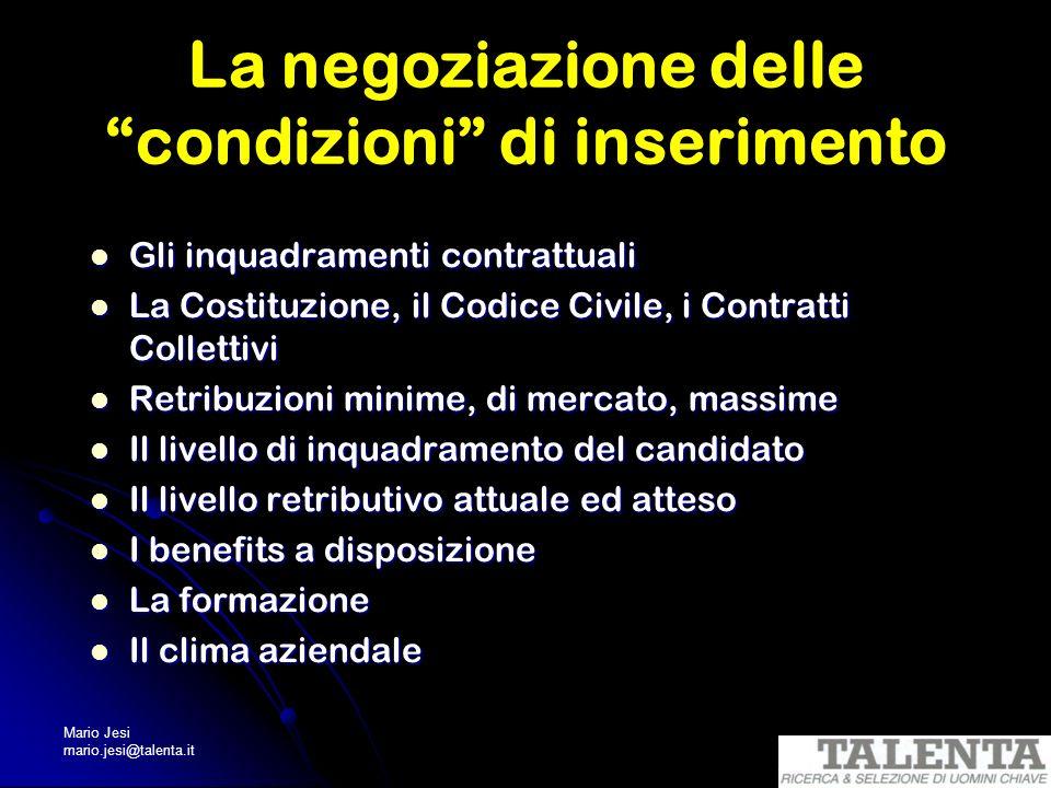 Mario Jesi mario.jesi@talenta.it La negoziazione delle condizioni di inserimento Gli inquadramenti contrattuali Gli inquadramenti contrattuali La Cost