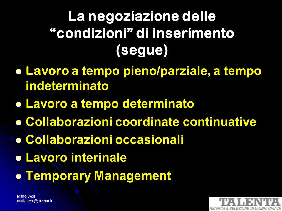 Mario Jesi mario.jesi@talenta.it La negoziazione delle condizioni di inserimento (segue) Lavoro a tempo pieno/parziale, a tempo indeterminato Lavoro a