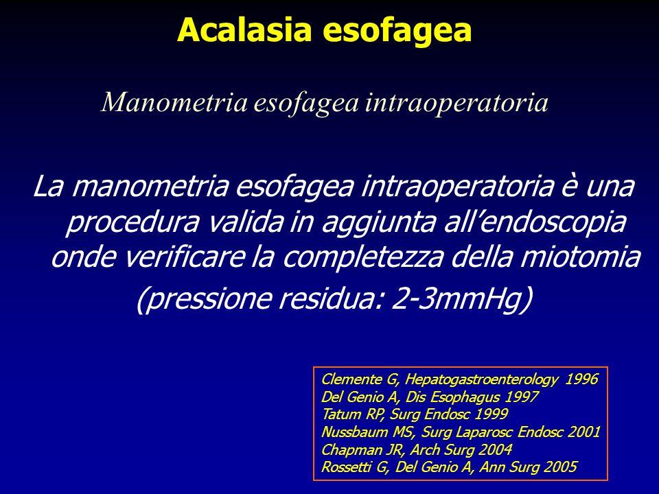 La manometria esofagea intraoperatoria è una procedura valida in aggiunta allendoscopia onde verificare la completezza della miotomia (pressione resid