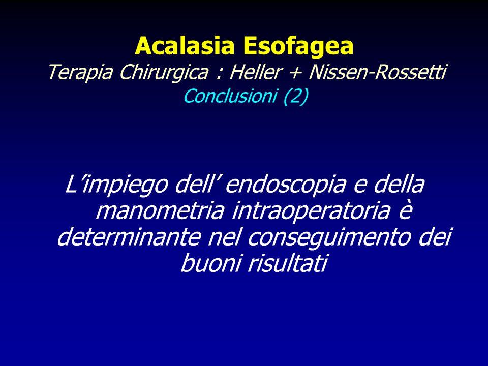 Acalasia Esofagea Terapia Chirurgica : Heller + Nissen-Rossetti Conclusioni (2) Limpiego dell endoscopia e della manometria intraoperatoria è determin