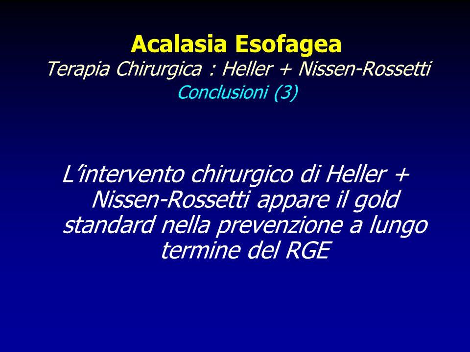 Acalasia Esofagea Terapia Chirurgica : Heller + Nissen-Rossetti Conclusioni (3) Lintervento chirurgico di Heller + Nissen-Rossetti appare il gold stan