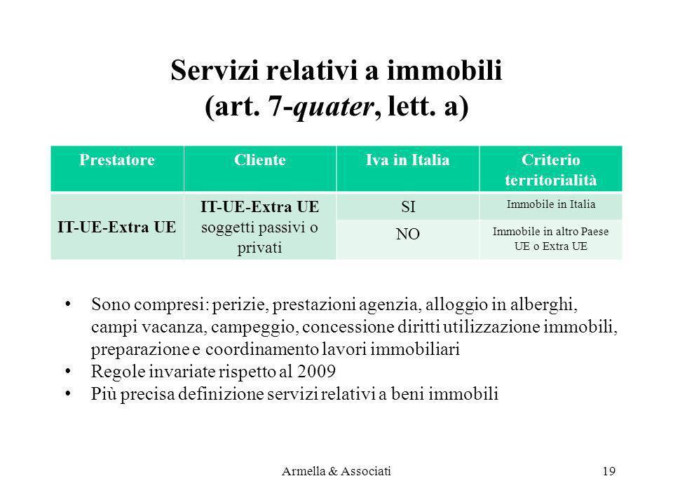 Servizi relativi a immobili (art. 7-quater, lett. a) PrestatoreClienteIva in ItaliaCriterio territorialità IT-UE-Extra UE soggetti passivi o privati S