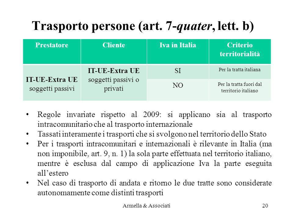 Trasporto persone (art. 7-quater, lett. b) PrestatoreClienteIva in ItaliaCriterio territorialità IT-UE-Extra UE soggetti passivi IT-UE-Extra UE sogget