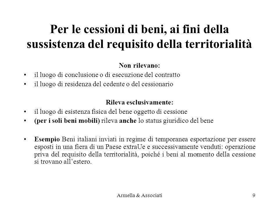Per le cessioni di beni, ai fini della sussistenza del requisito della territorialità Non rilevano: il luogo di conclusione o di esecuzione del contra