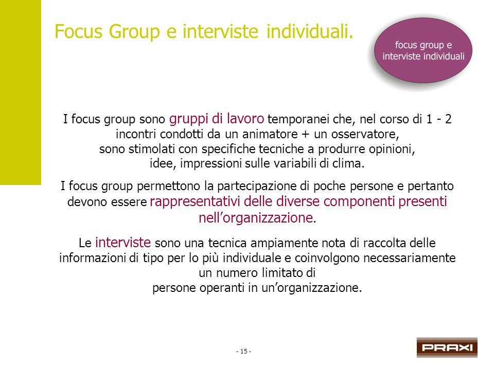 - 15 - Focus Group e interviste individuali.