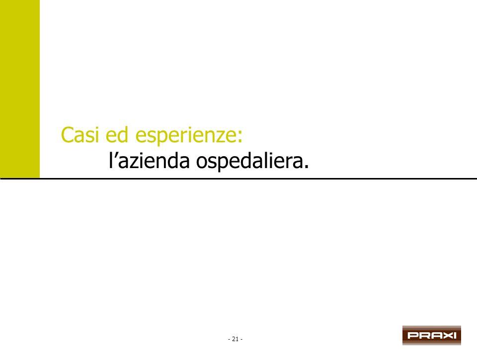 - 21 - Casi ed esperienze: lazienda ospedaliera.