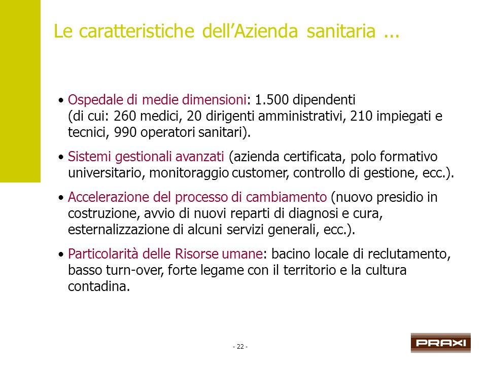 - 22 - Le caratteristiche dellAzienda sanitaria... Ospedale di medie dimensioni: 1.500 dipendenti (di cui: 260 medici, 20 dirigenti amministrativi, 21