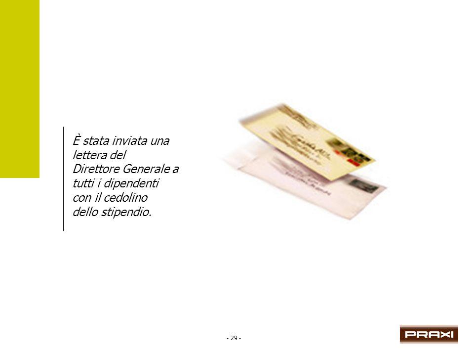 - 29 - È stata inviata una lettera del Direttore Generale a tutti i dipendenti con il cedolino dello stipendio.