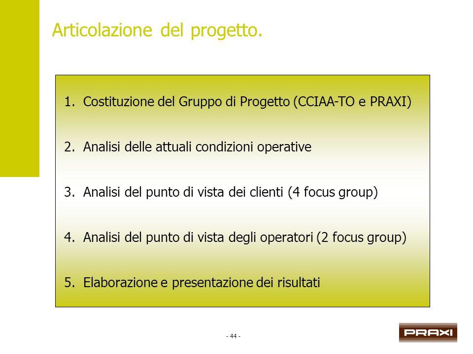 - 44 - Articolazione del progetto. 1.Costituzione del Gruppo di Progetto (CCIAA-TO e PRAXI) 2.Analisi delle attuali condizioni operative 3.Analisi del