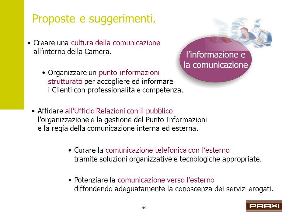 - 49 - Proposte e suggerimenti. Creare una cultura della comunicazione allinterno della Camera. Organizzare un punto informazioni strutturato per acco