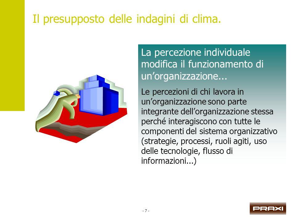 - 7 - La percezione individuale modifica il funzionamento di unorganizzazione... Le percezioni di chi lavora in unorganizzazione sono parte integrante