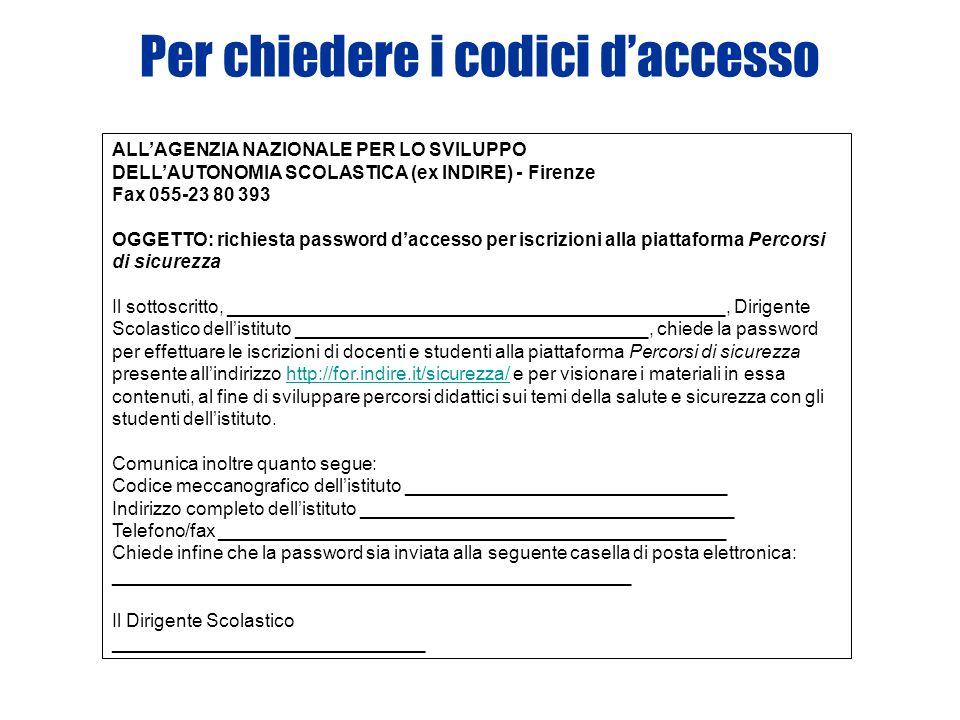 Per chiedere i codici daccesso ALLAGENZIA NAZIONALE PER LO SVILUPPO DELLAUTONOMIA SCOLASTICA (ex INDIRE) - Firenze Fax 055-23 80 393 OGGETTO: richiesta password daccesso per iscrizioni alla piattaforma Percorsi di sicurezza Il sottoscritto, ________________________________________________, Dirigente Scolastico dellistituto __________________________________, chiede la password per effettuare le iscrizioni di docenti e studenti alla piattaforma Percorsi di sicurezza presente allindirizzo http://for.indire.it/sicurezza/ e per visionare i materiali in essa contenuti, al fine di sviluppare percorsi didattici sui temi della salute e sicurezza con gli studenti dellistituto.http://for.indire.it/sicurezza/ Comunica inoltre quanto segue: Codice meccanografico dellistituto _______________________________ Indirizzo completo dellistituto ____________________________________ Telefono/fax _________________________________________________ Chiede infine che la password sia inviata alla seguente casella di posta elettronica: __________________________________________________ Il Dirigente Scolastico ______________________________