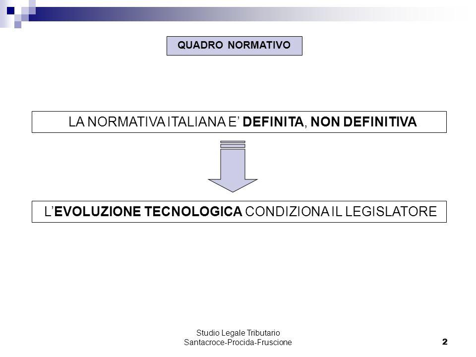 2 Studio Legale Tributario Santacroce-Procida-Fruscione 2 LA NORMATIVA ITALIANA E DEFINITA, NON DEFINITIVA QUADRO NORMATIVO LEVOLUZIONE TECNOLOGICA CONDIZIONA IL LEGISLATORE