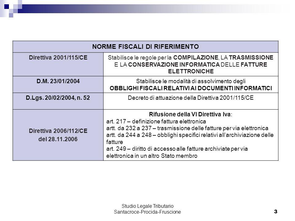 3 Studio Legale Tributario Santacroce-Procida-Fruscione 3 NORME FISCALI DI RIFERIMENTO Direttiva 2001/115/CEStabilisce le regole per la COMPILAZIONE, LA TRASMISSIONE E LA CONSERVAZIONE INFORMATICA DELLE FATTURE ELETTRONICHE D.M.