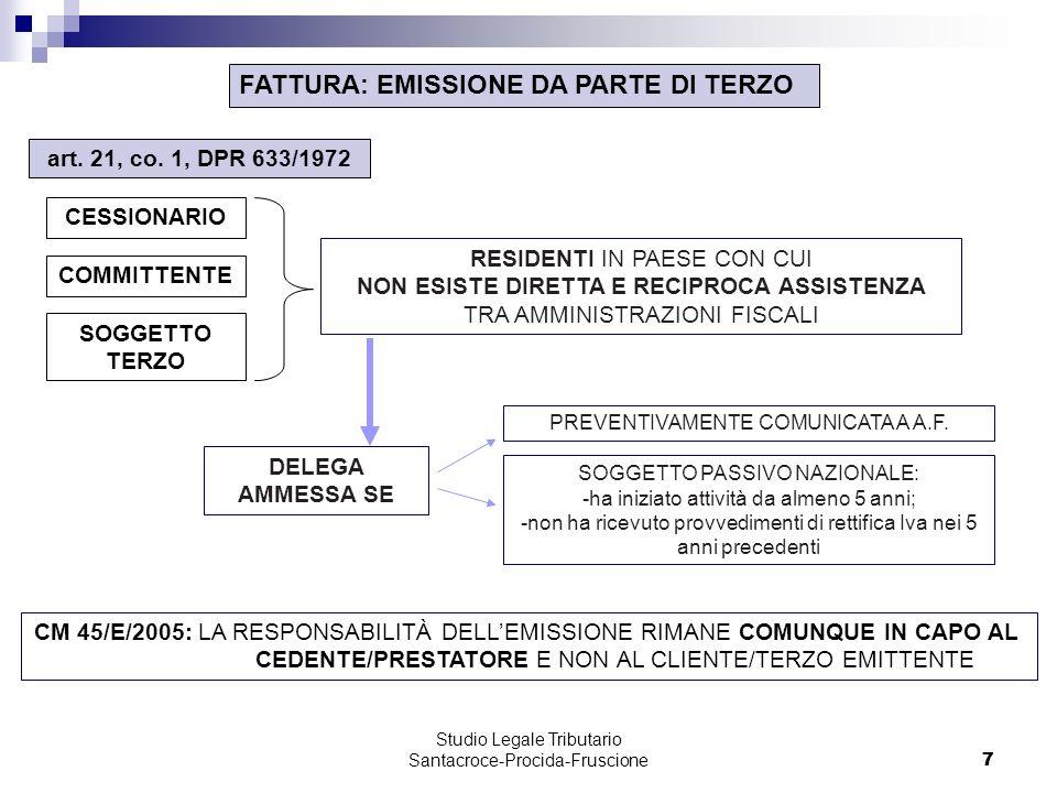 7 Studio Legale Tributario Santacroce-Procida-Fruscione 7 FATTURA: EMISSIONE DA PARTE DI TERZO CM 45/E/2005: LA RESPONSABILITÀ DELLEMISSIONE RIMANE COMUNQUE IN CAPO AL CEDENTE/PRESTATORE E NON AL CLIENTE/TERZO EMITTENTE art.