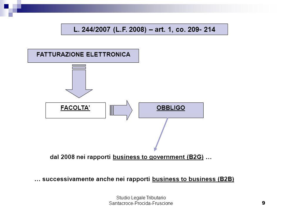 9 Studio Legale Tributario Santacroce-Procida-Fruscione 9 FATTURAZIONE ELETTRONICA FACOLTA L.