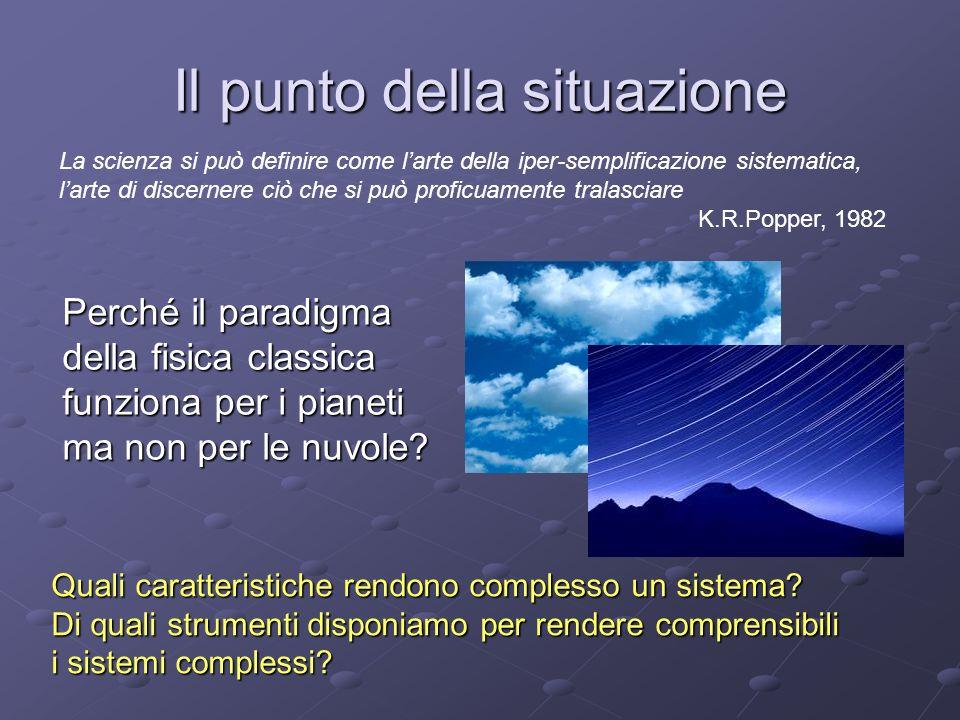 Il punto della situazione Perché il paradigma della fisica classica funziona per i pianeti ma non per le nuvole.