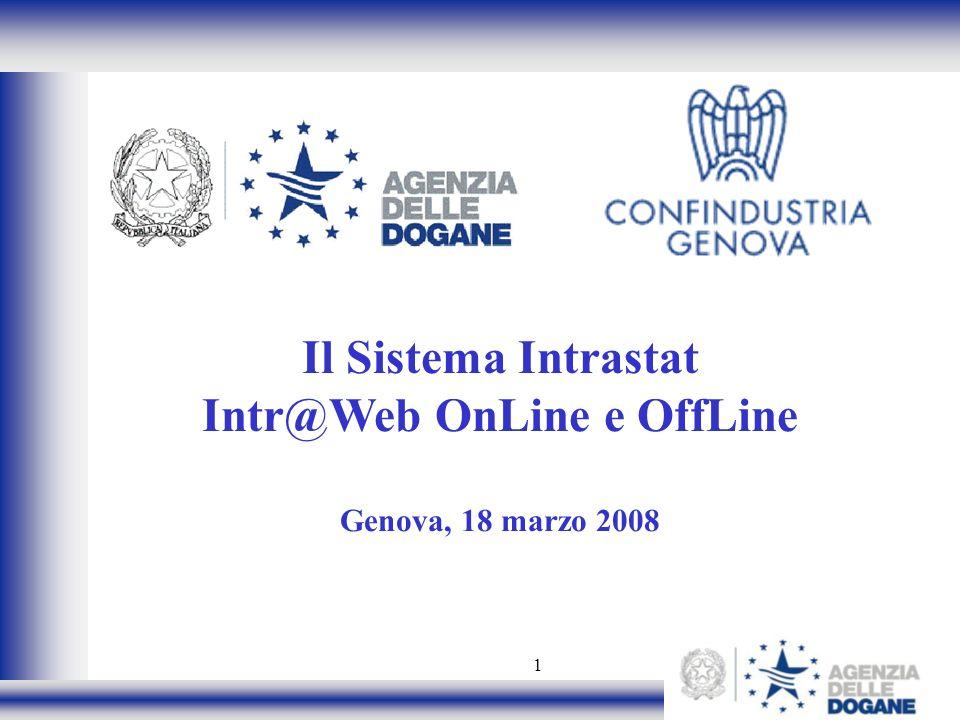 1 Il Sistema Intrastat Intr@Web OnLine e OffLine Genova, 18 marzo 2008
