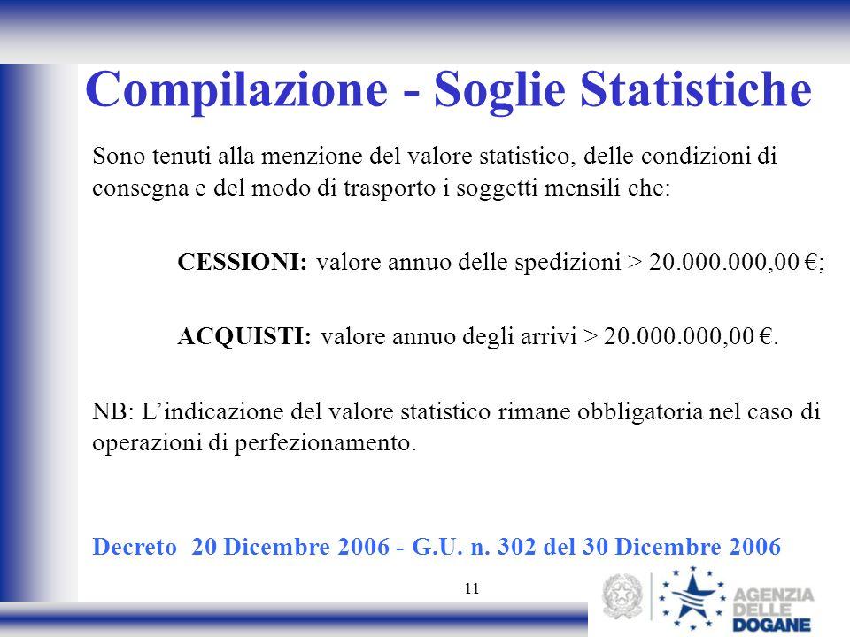 11 Compilazione - Soglie Statistiche Sono tenuti alla menzione del valore statistico, delle condizioni di consegna e del modo di trasporto i soggetti