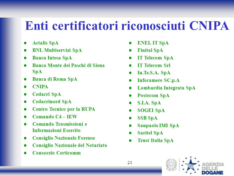 21 Enti certificatori riconosciuti CNIPA Actalis SpA BNL Multiservizi SpA Banca Intesa SpA Banca Monte dei Paschi di Siena SpA Banca di Roma SpA CNIPA