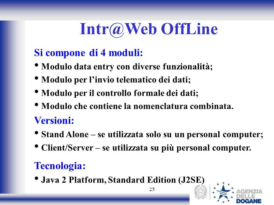 25 Intr@Web OffLine Si compone di 4 moduli: Modulo data entry con diverse funzionalità; Modulo per linvio telematico dei dati; Modulo per il controllo formale dei dati; Modulo che contiene la nomenclatura combinata.