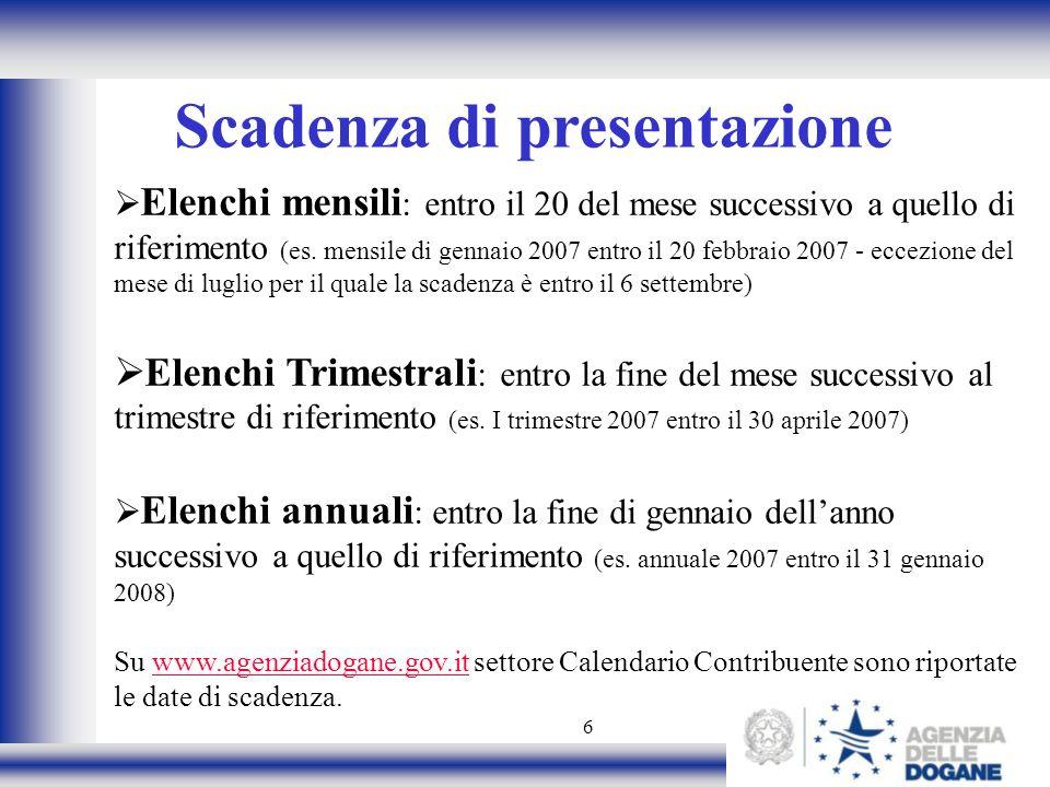 6 Scadenza di presentazione Elenchi mensili : entro il 20 del mese successivo a quello di riferimento (es. mensile di gennaio 2007 entro il 20 febbrai